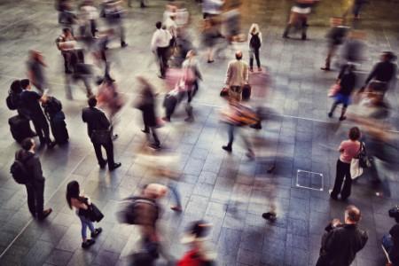 Blurred Motion Of People Walking