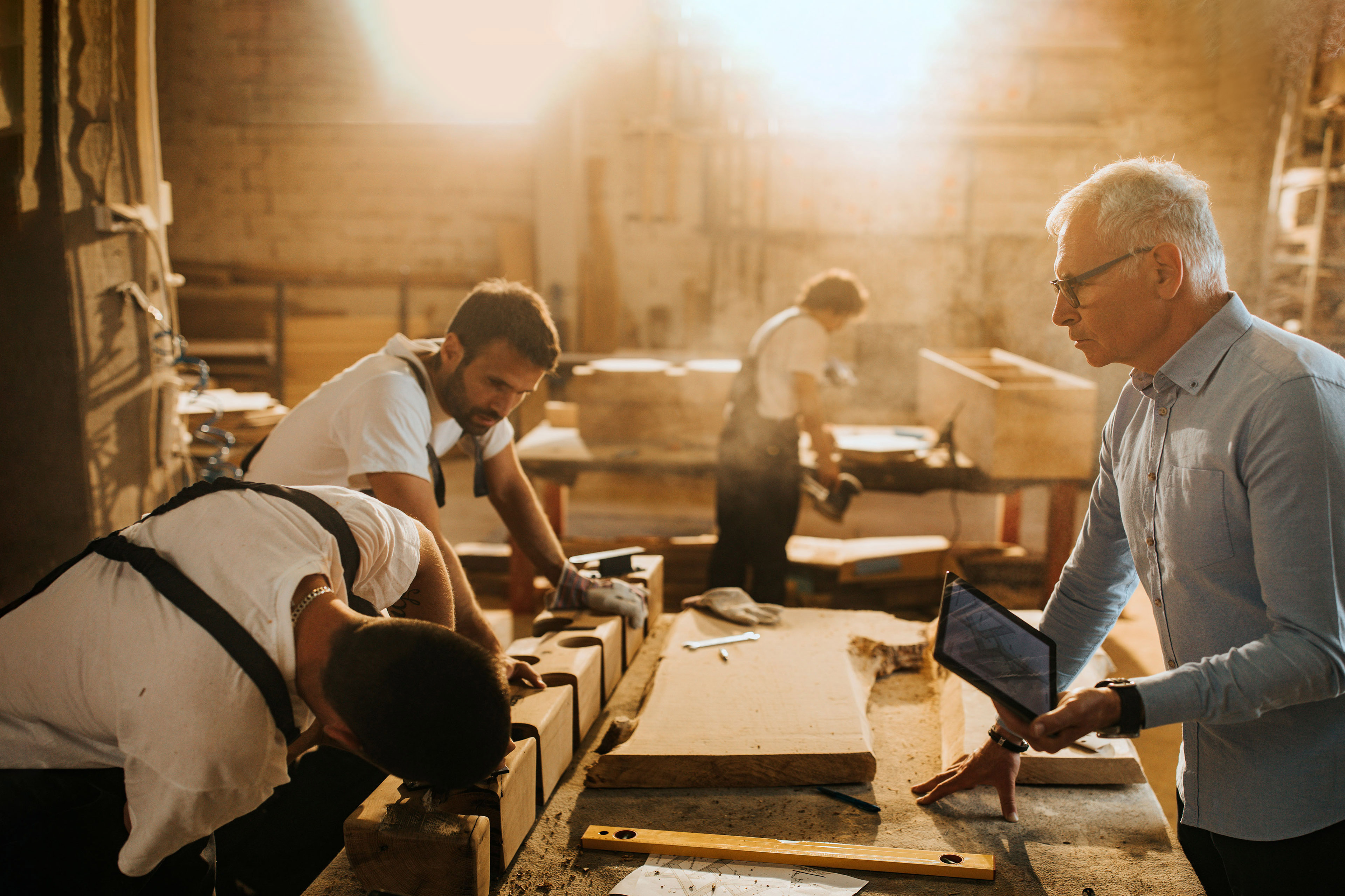 Carpenters working in the workshop.