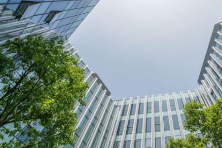 Froschperspektive eines Gebäudes mit Bäumen davor