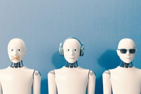 Roboter warten auf Arbeit
