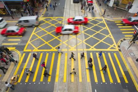 Straßenszene Hongkong Fußgängerüberweg