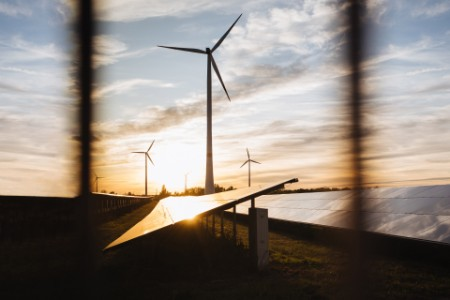 An alternative energy place in the sunset