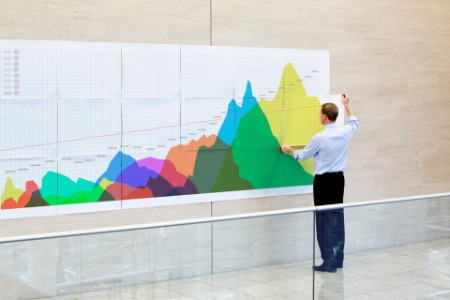 Geschäftsmann erstellt eine Infografik in einem Büro