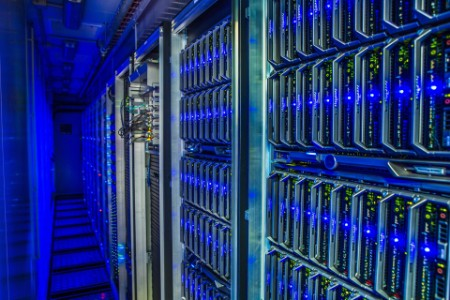 a view of multiple servers in data center