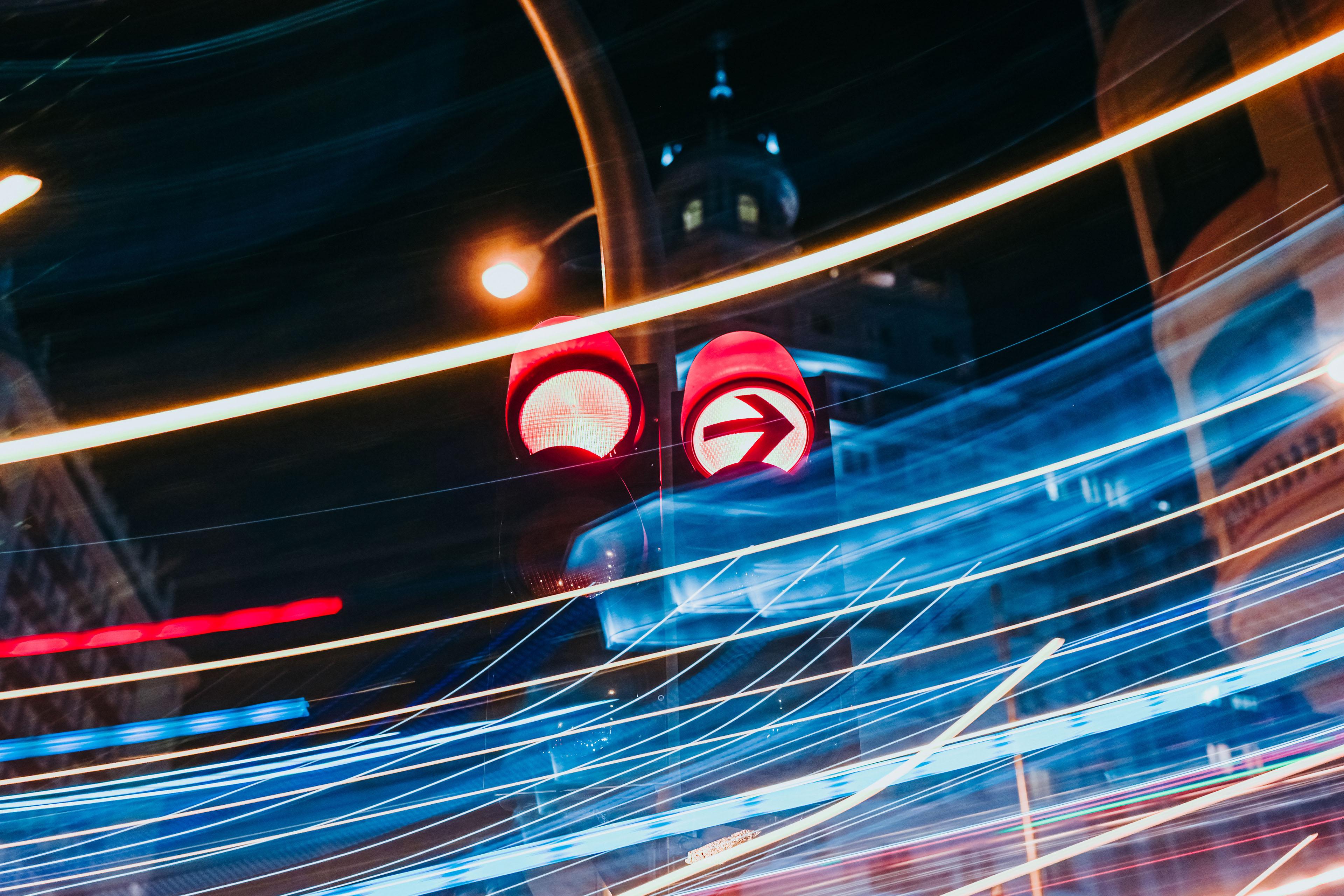 Traffic lights at luminous night in Madrid city, long exposure