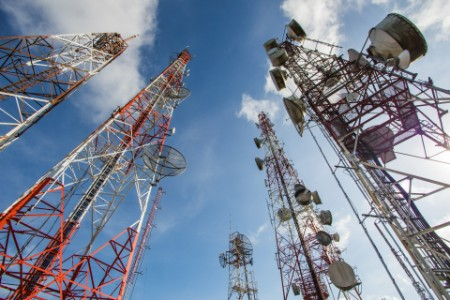Telecommunication TV antennas blue sky