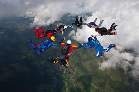 Skydivers mid jump