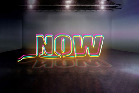 Word now in colourful neon light
