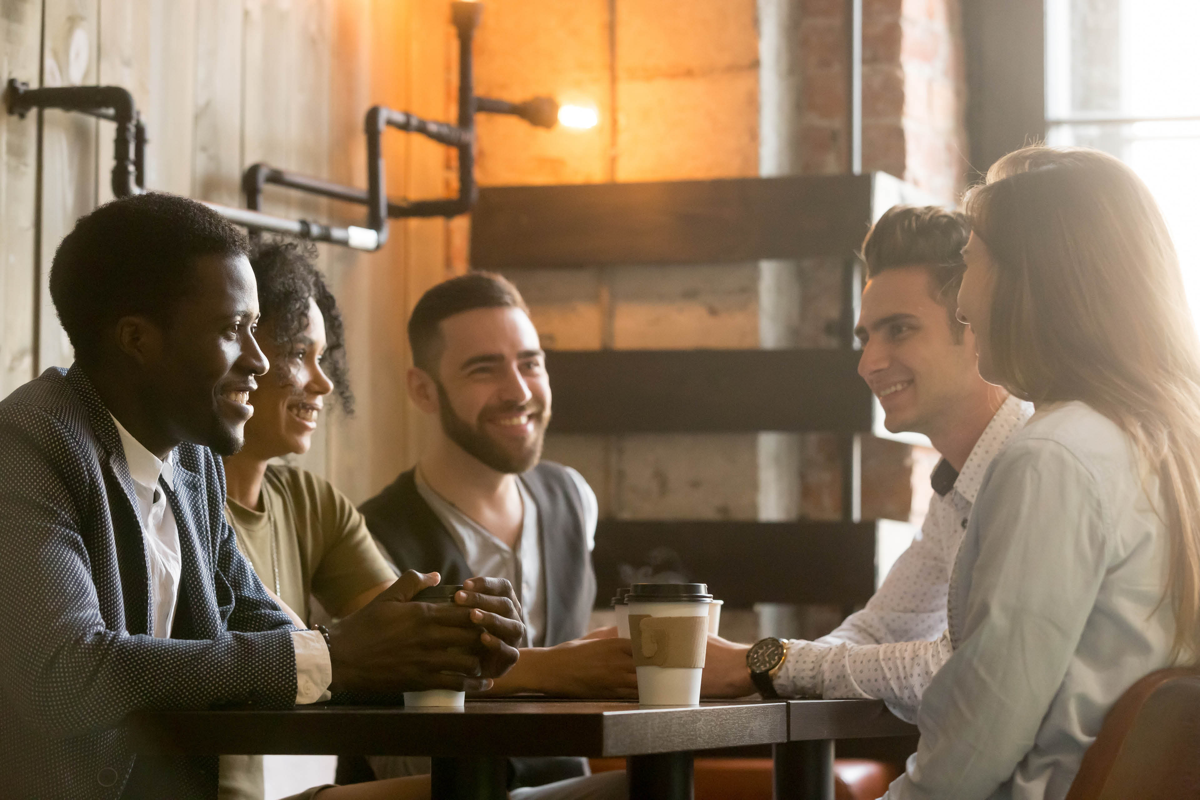 Group of people having coffee
