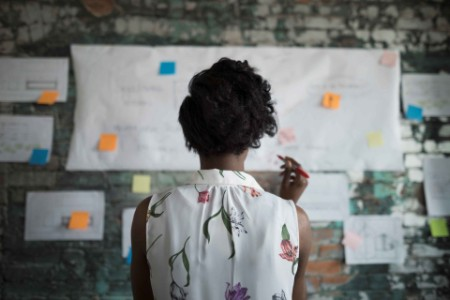 Woman brainstorming in front of flow chart on wall