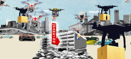 Illustration by Tanya Cooper of drones in a cityscape