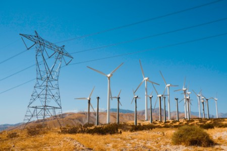 Wind turbines pylon blue sky