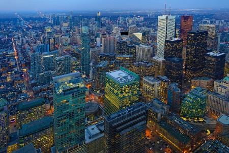 Aerial Toronto City Center After Sunset