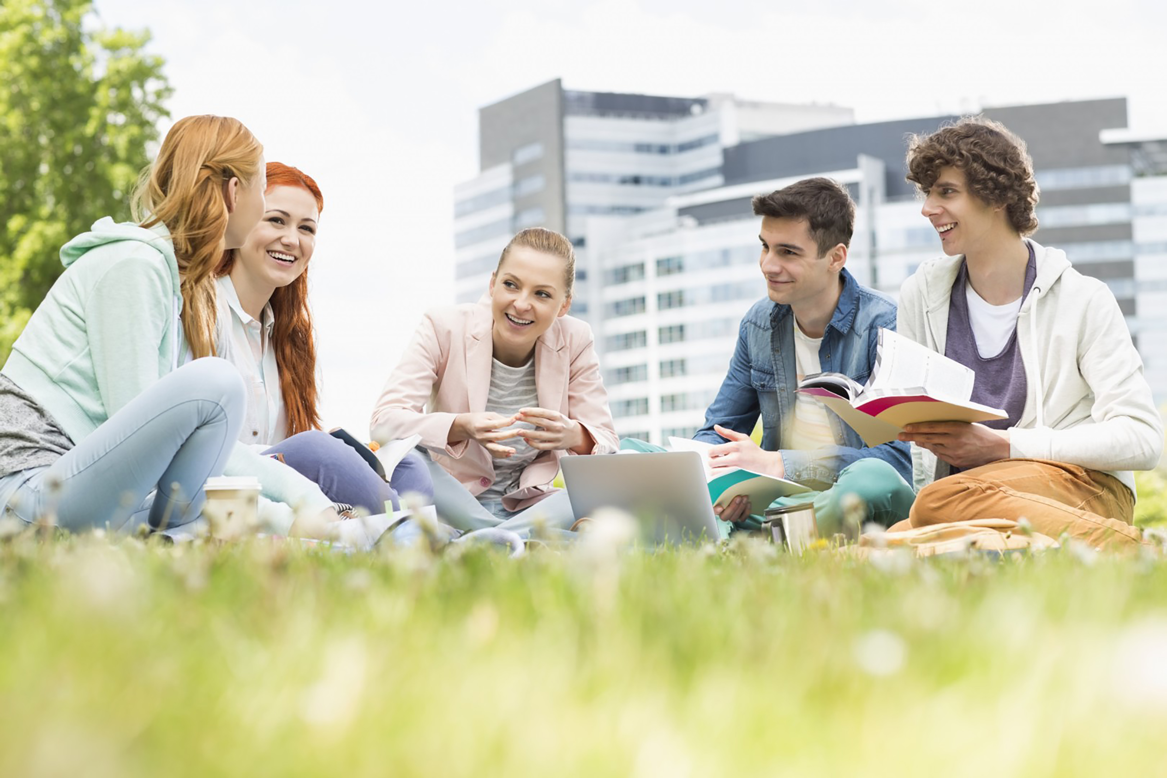 Group of people sitting in grass