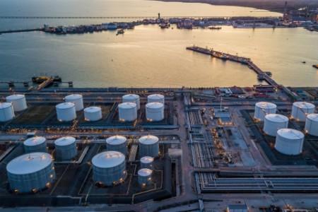 EY - Aerial view white oil tank