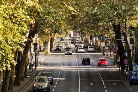 Traffics cars in the city street.