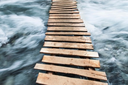 Wood planks on rough waters