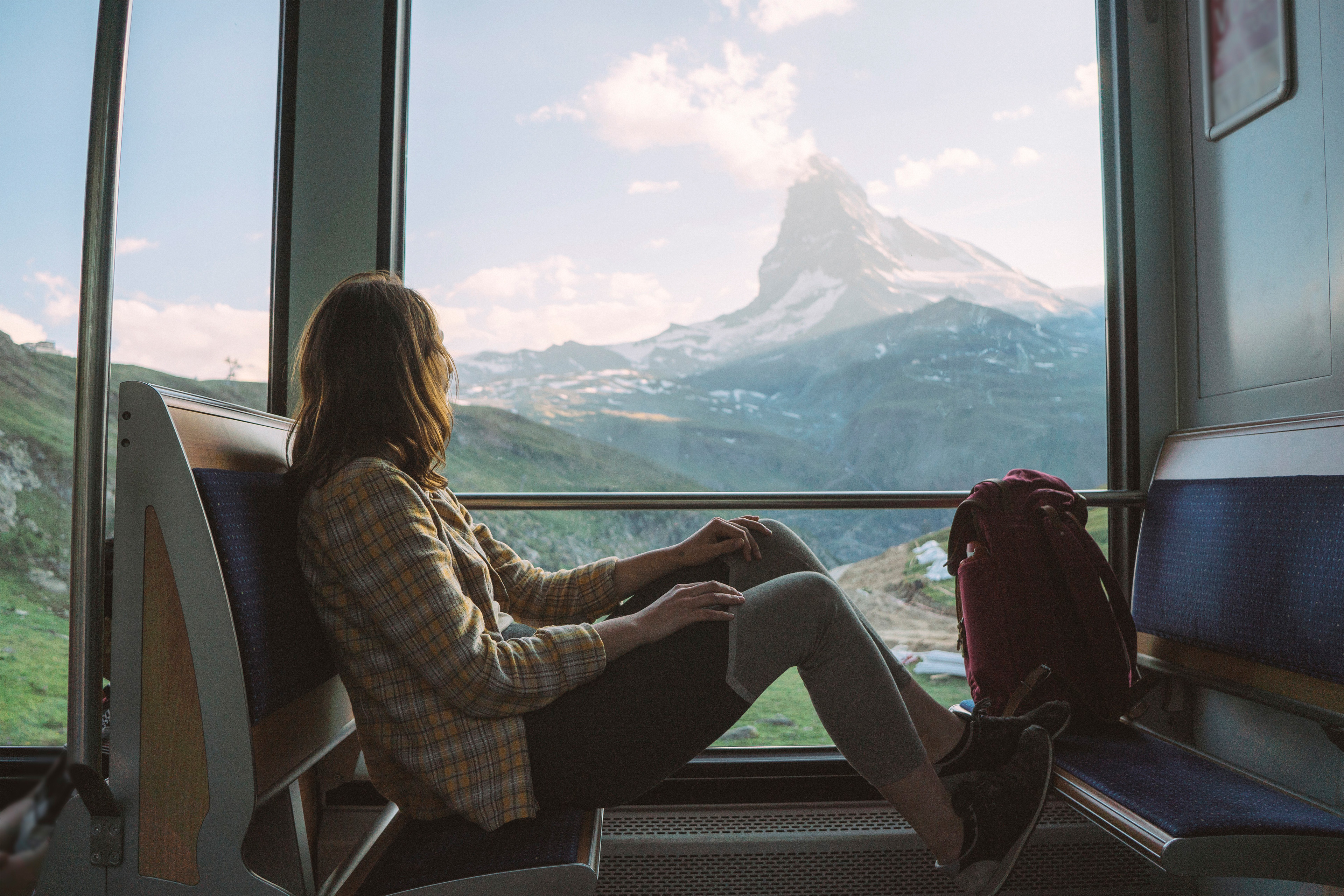 Woman travelling in gornergrat train