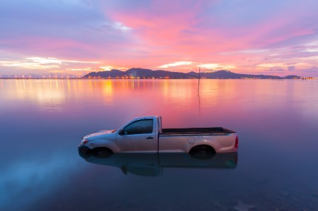 Automobile sinking in lake
