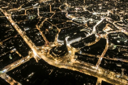 Aerial View Illuminated City Night
