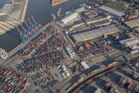 Aerial view of container terminal tollerort hamburg
