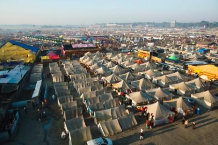 Aerial view of residential tents at Kumbh Mala, Allahabad Uttah Pradesh, India