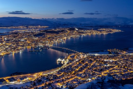 bridge city night light Norway