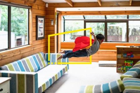 child super hero jumping