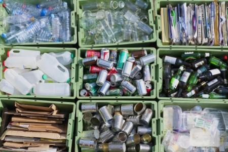 Close up organized recycling bin
