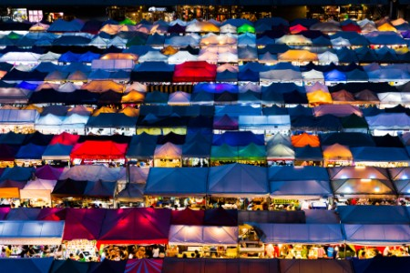 Colorful markets at night stalls