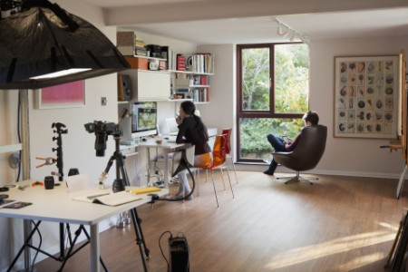 Couple working reading home office