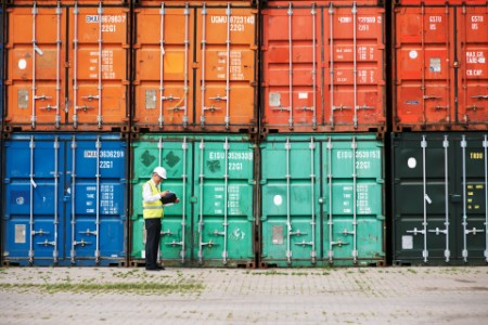 Customs inspector standing reviewing containers dock