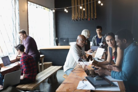 Designers group brainstorming in office