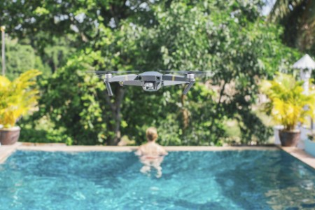 Drone over swimming pool