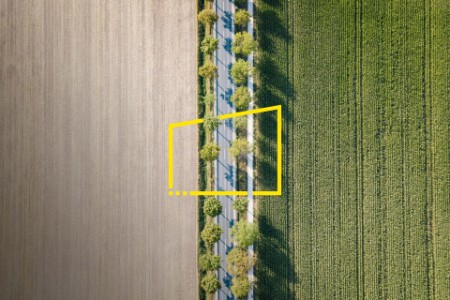 High angle picture of road between two fields Germany