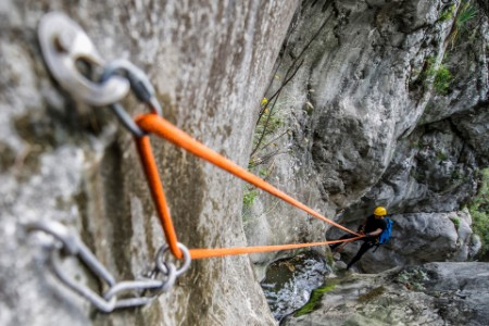 Rappeling rope canyon