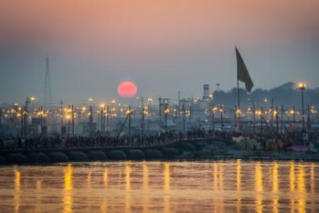 Sunset at Kumhb Mela, Allahabad