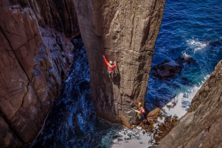 Two climbers start first pitch totem pole Australia
