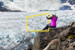 Iceland Glacier woman camera