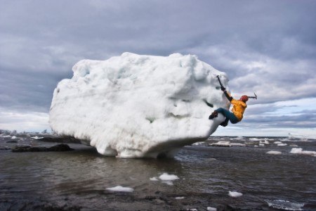 man ice bouldering iceberg St-Lawrence river Canada