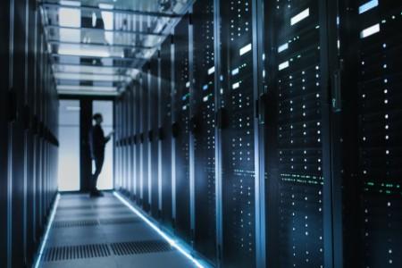IT technician turning on data server