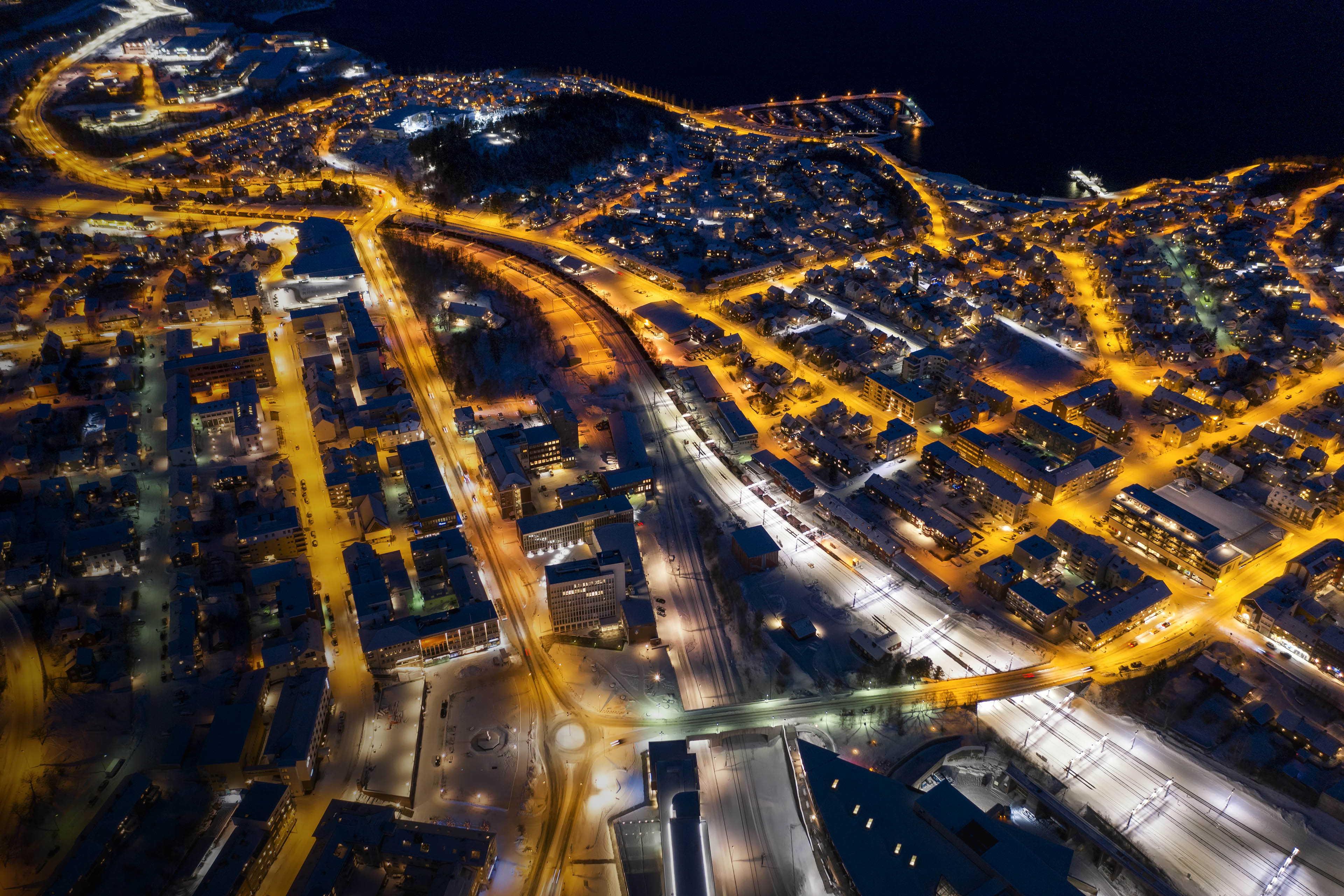 Night view of Narvik cityscape, Norway