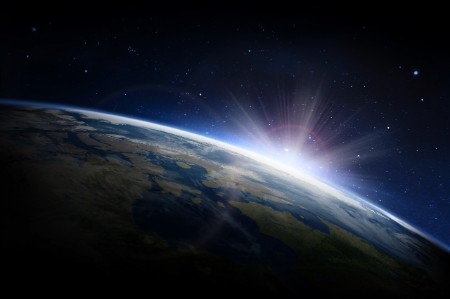 sunlight earth outer space