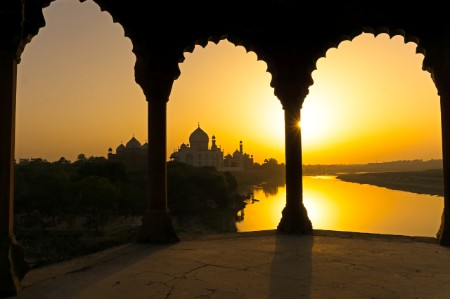 Sunset over Taj Mahal