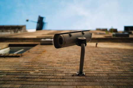 surveillance camera on rooftop