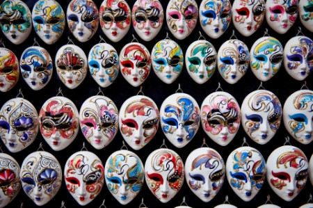 Masks hanging in a market