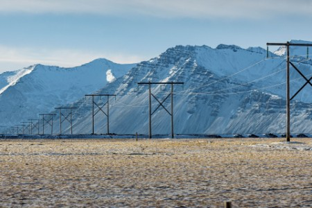 ey high power tower in winter iceland