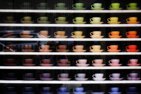 Series of colourful cups