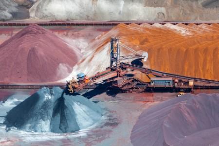 ore and conveyor belt aerial