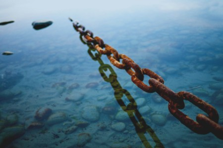 Chains being raised in the sea